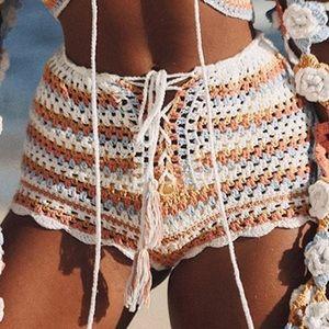 Other - NEW Sexy Crocheted Boho Bikini Cover Up Shorts